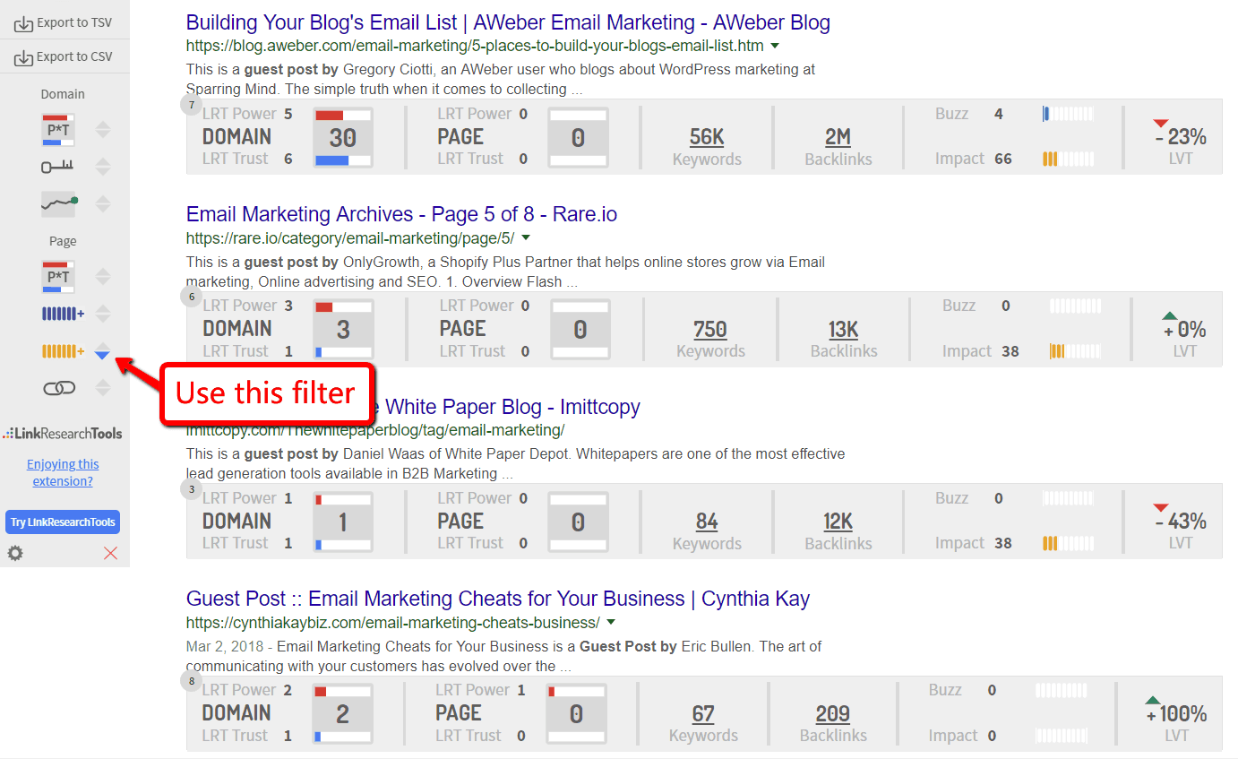 Filter sites for guest blogging