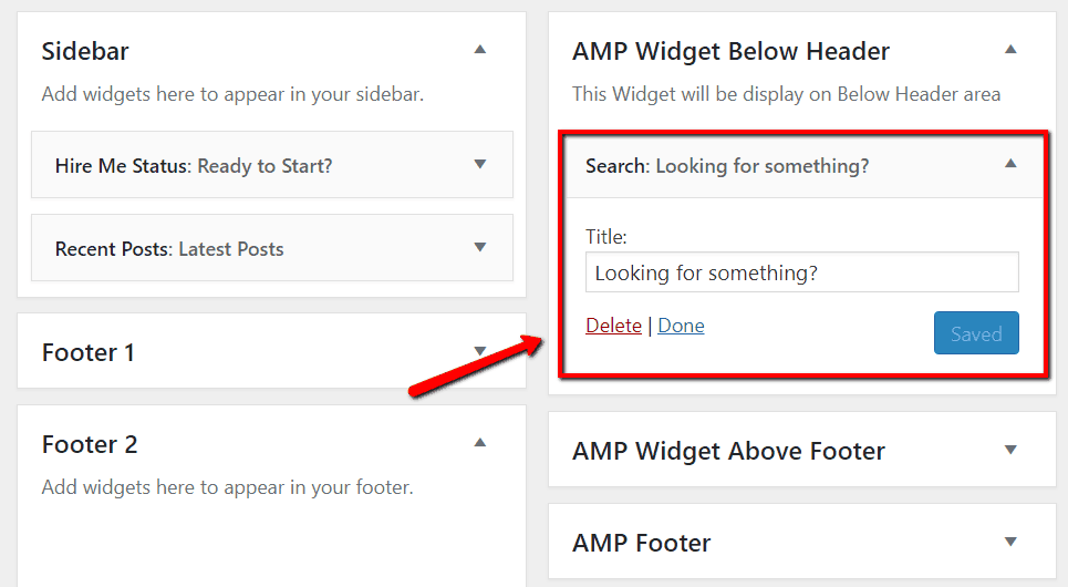 WordPress search widget