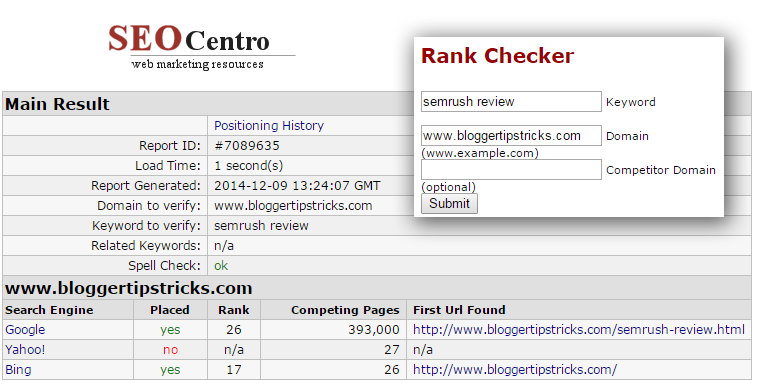 SEO centro rank checker