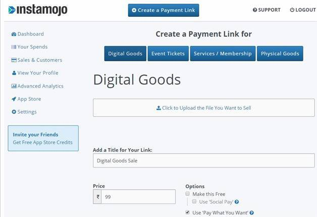 create instamojo payment link