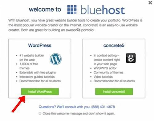 welcome to bluehost popup