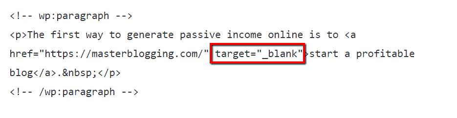 Links target black html