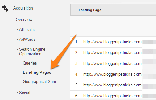 google analytics top pages
