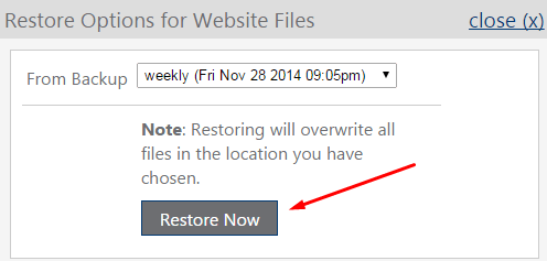 memulihkan opsi untuk mengembalikan file