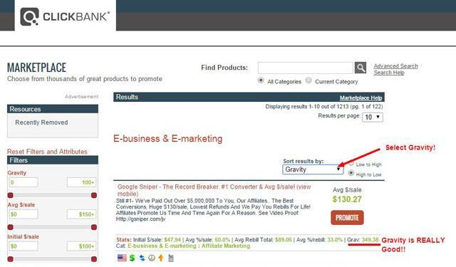 clickbank product gravity