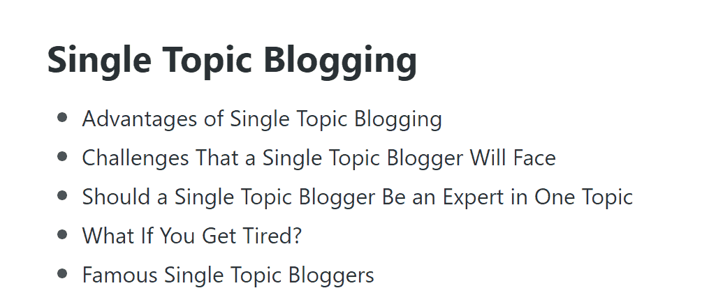 Single Topic Blogging