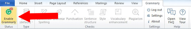 enable grammarly microsoft word