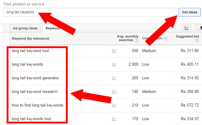 keyword planner long tail keywords