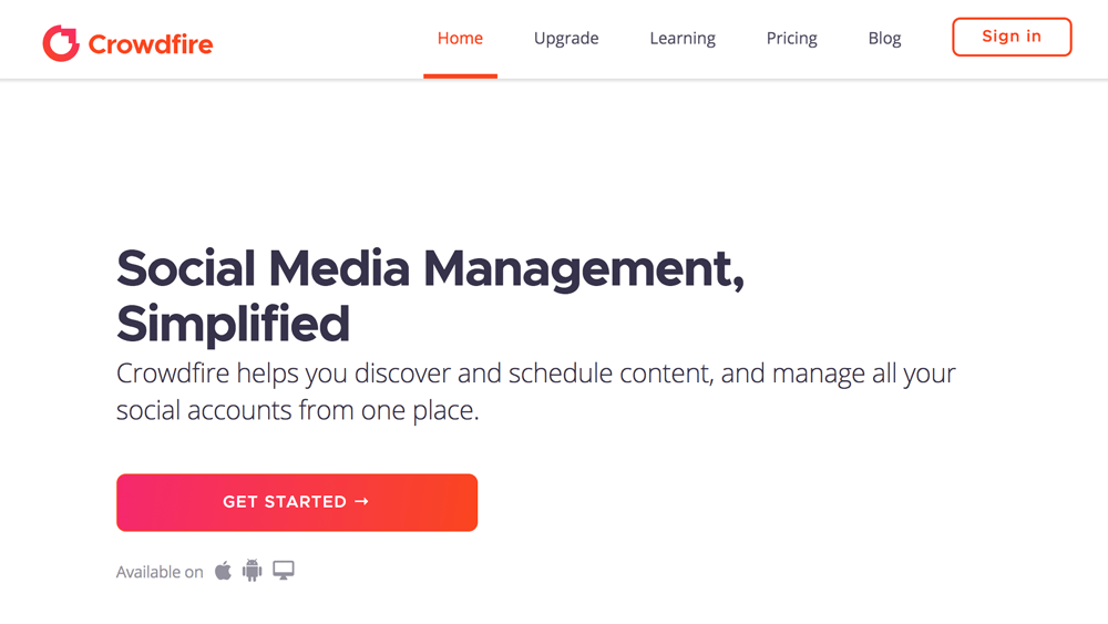 Crowdfire social media management tool