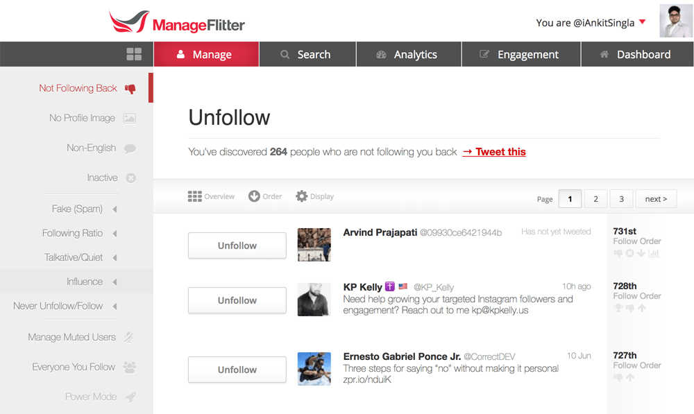 ManageFlitter Twitter Unfollow Tool