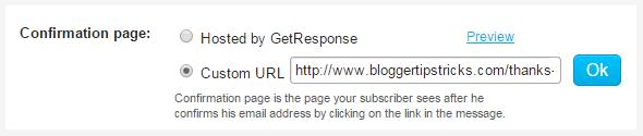 confirmation page custom url