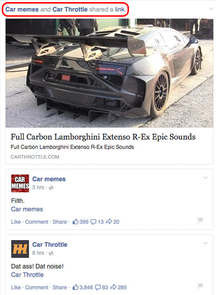 facebook likes car throttle