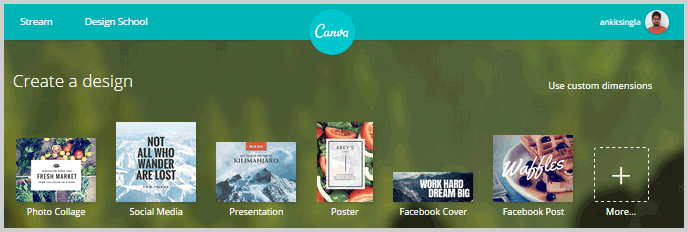 Canva photo design tool