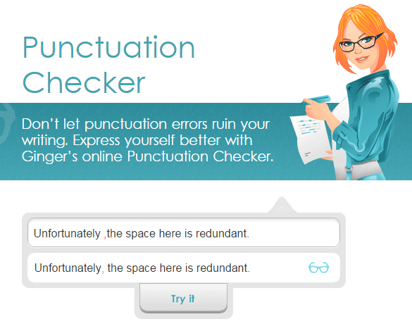 Ginger Punctuation Checker
