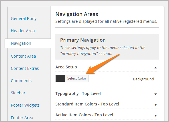 Studiopress themes nagivation settings