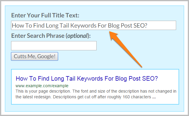 Title tag preview tool