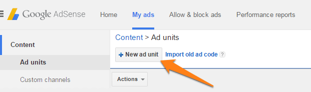 Create new ad unit