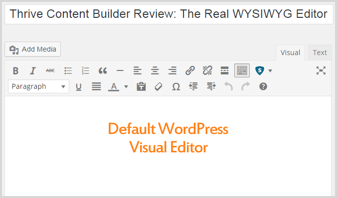 Default WordPress Visual Editor