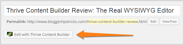 Edit with Thrive Content Builder