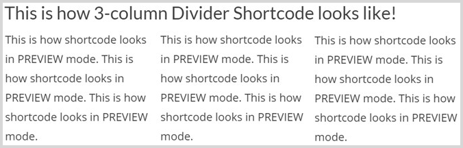 Shortcode in Preview mode