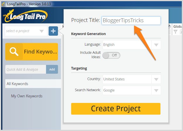 long tail pro project title