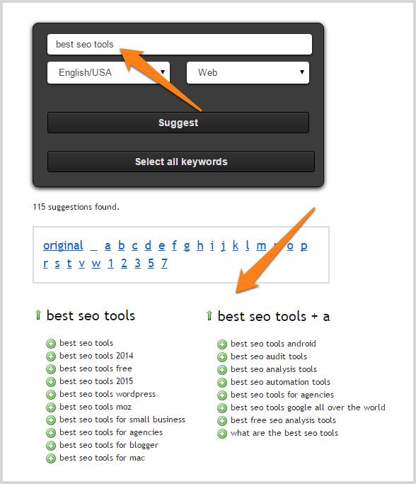 Keyword research using Ubersuggest