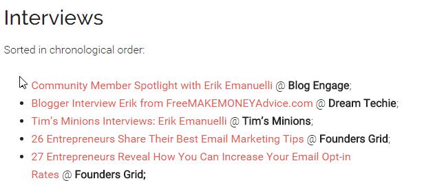 Interviews list