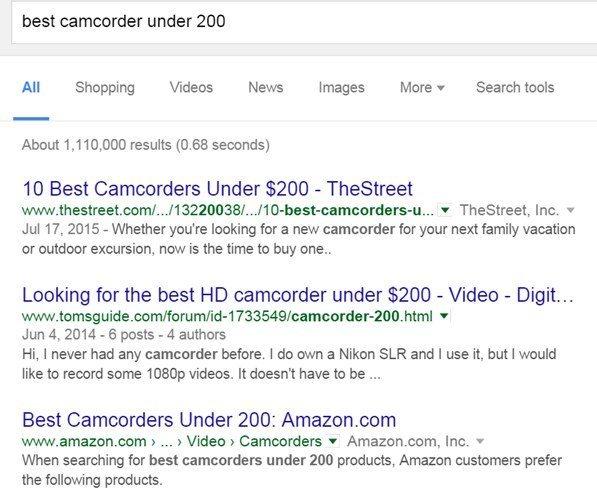 Keyword Research Best Camcorder under 200