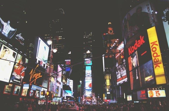 City marketing lights night