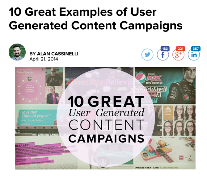 Examples of User Generated Content Campaigns