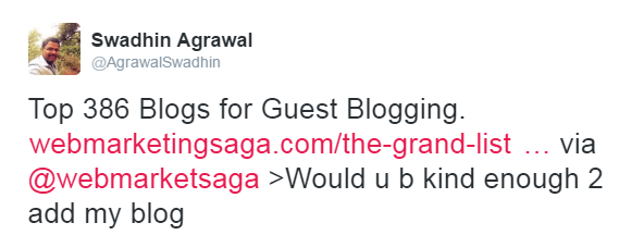 Guest Blogging Tweet Outreach