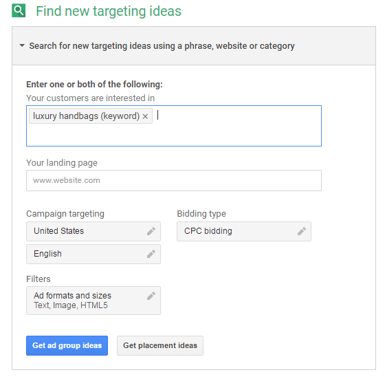 adwords display planner keyword study