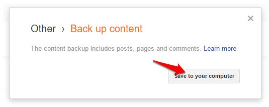 Back up content blogger blog