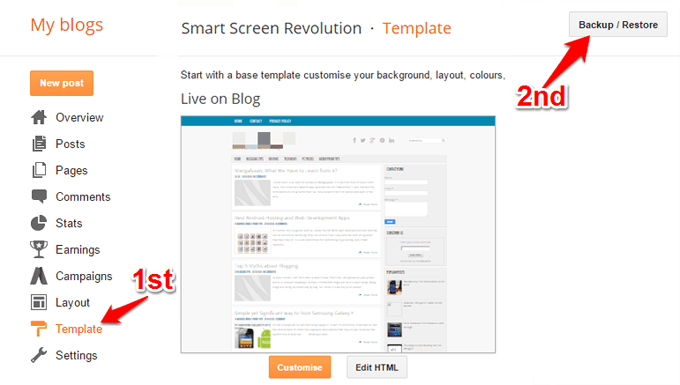 Backup Restore Blogger template