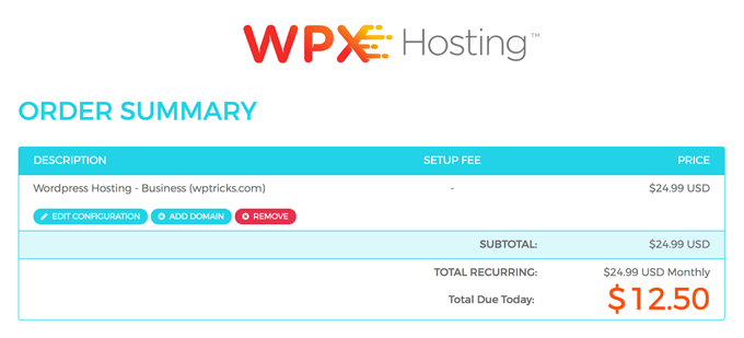 WPXHosting Order Summary