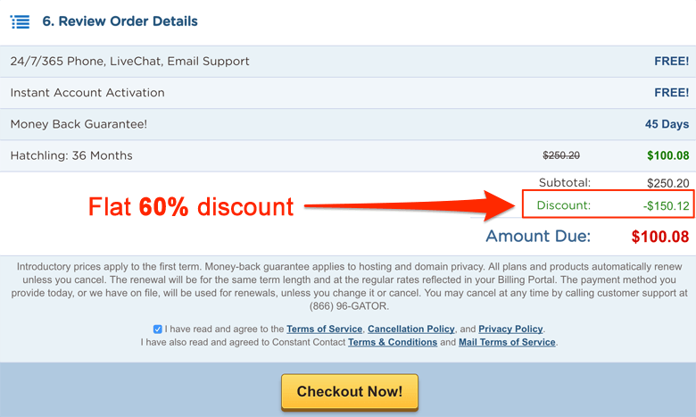 Hostgator coupon code review your order
