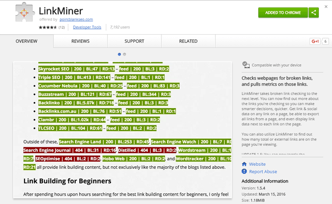 LinkMiner Chrome Extension