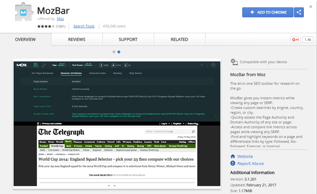 Mozbar Chrome Extension