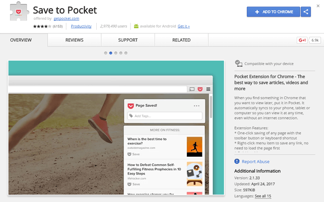 Save To Pocket Chrome Extension