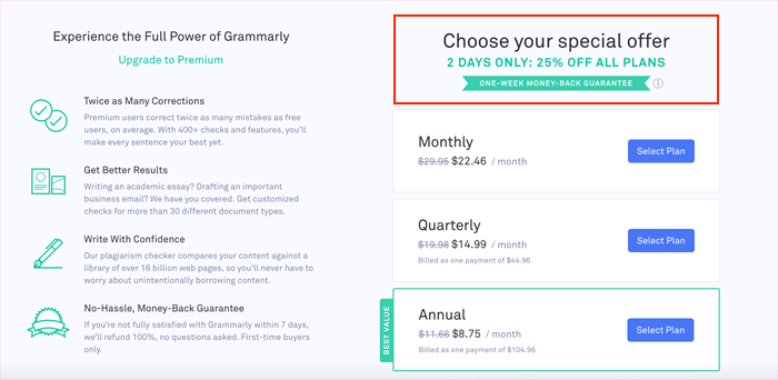 Grammarly special offer
