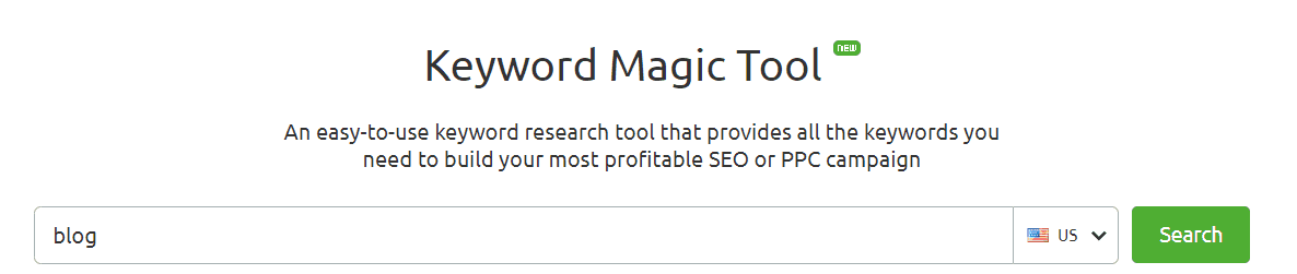 Keyword Magic Tool keyword research