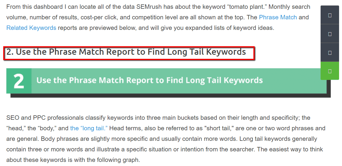 Phrase match report find long tail keywords