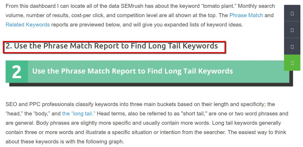 Sıralı eşleme raporu, uzun kuyruk anahtar kelimeler bulur