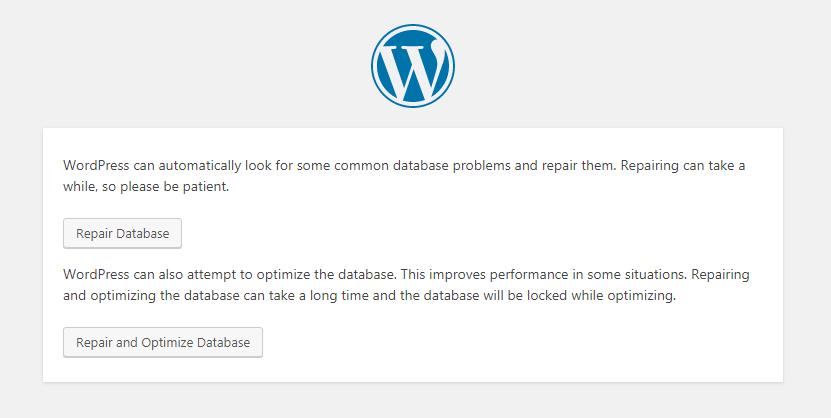 Repair and Optimize WordPress Database
