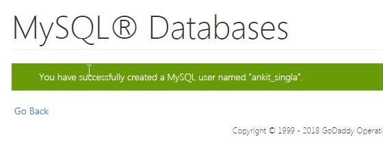 Successfully created MYSQL user