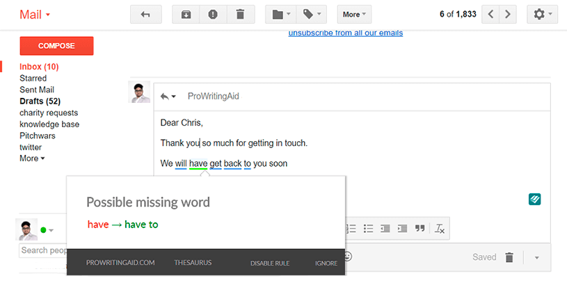 ProWritingAid Chrome Extension