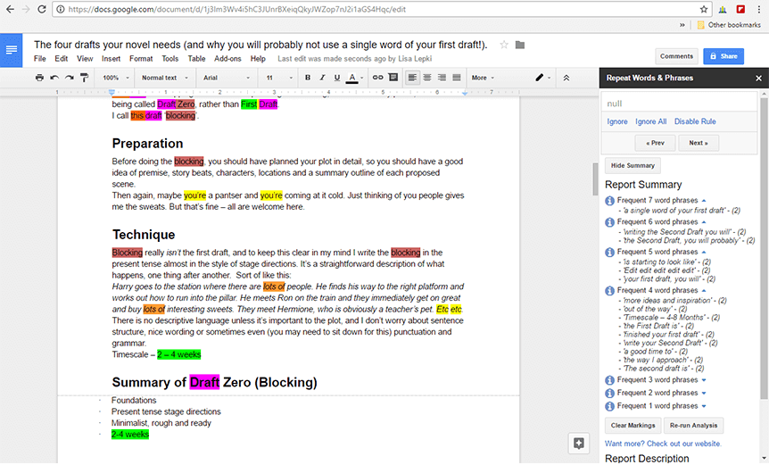 ProWritingAid Google Docs Report