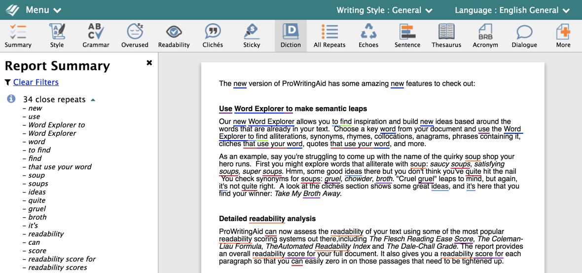 ProWritingAid Word Report Summary
