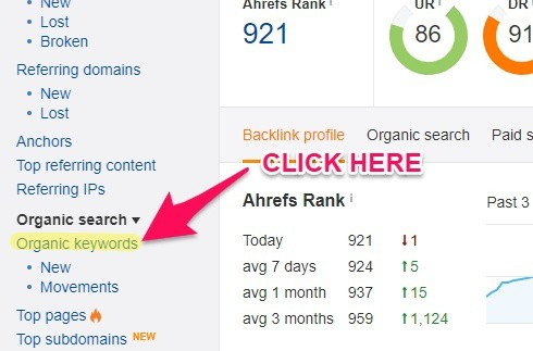 Ahrefs organic keywords