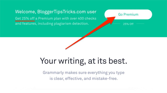 Grammarly Discount Offer